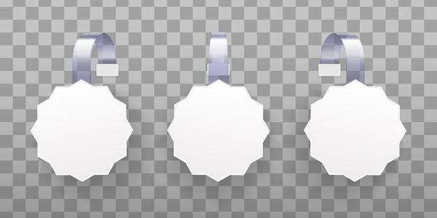 3d blanco witte ronde wobbler. witte lege reclame wobblers geïsoleerd op transparante achtergrond. concept voor promotieverkoop, supermarktprijskaartje. vierkante etiketten voor papierverkoop. illustrtaion Premium Vector