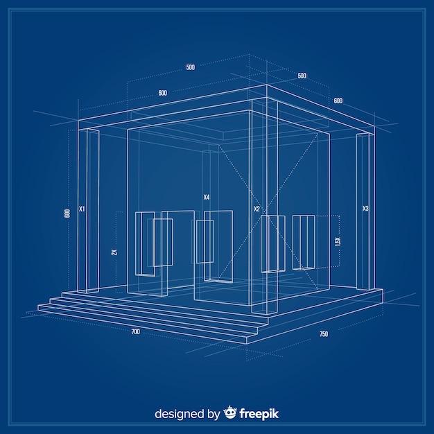 3d-blauwdruk van een bouwproject Gratis Vector
