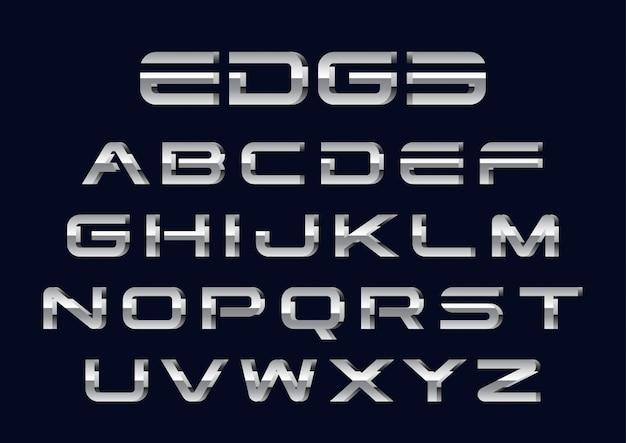 3d chrome futuristische alfabetten set Premium Vector