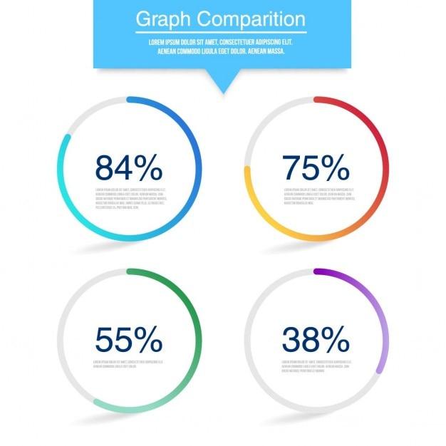 3d-circulaire grafiek grafiek voor infographic Gratis Vector