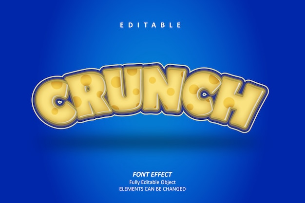 3d crunch text effect premium Premium Vector