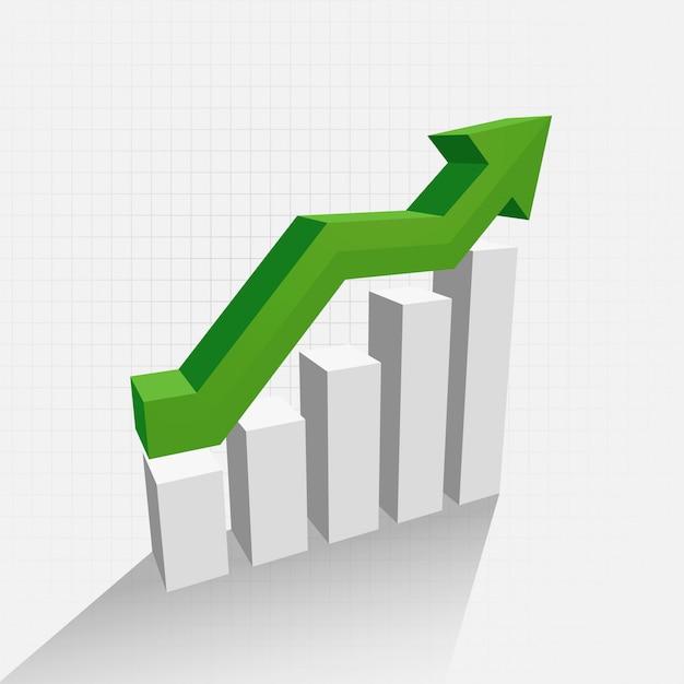3d diagram van de groeigrafiek met schaduw Gratis Vector