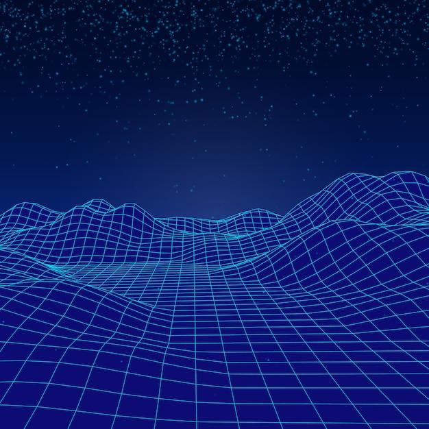 3d digitaal vectorlandschap met vallende deeltjes zoals een sneeuw. Premium Vector
