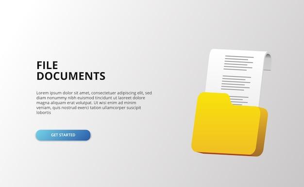 3d-documentmap papieren bestanden technologie archiefobject met 3d-verbluffend pictogramkantoor Premium Vector