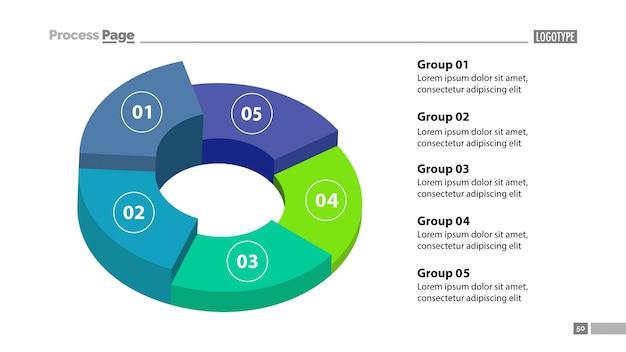 3d donut grafiek met vijf groepen sjabloon Gratis Vector