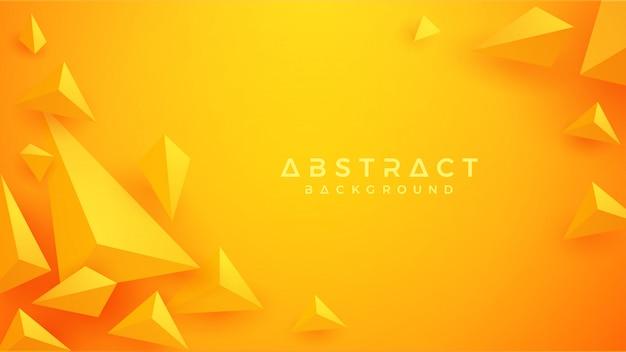 3d-driehoek oranje en gele achtergrond. Premium Vector