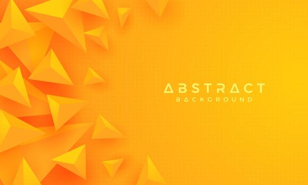 3d-driehoek oranje gele achtergrond. Premium Vector