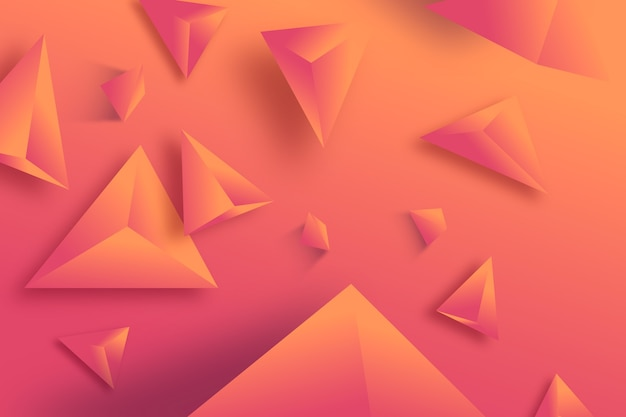 3d driehoeks monochrome levendige kleur als achtergrond Gratis Vector