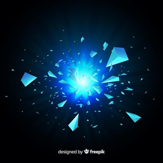 3d explosie met lichte achtergrond Gratis Vector