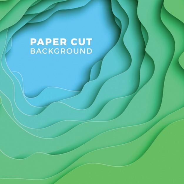 3d geometrische achtergrond met realistische papier gesneden lagen. Premium Vector