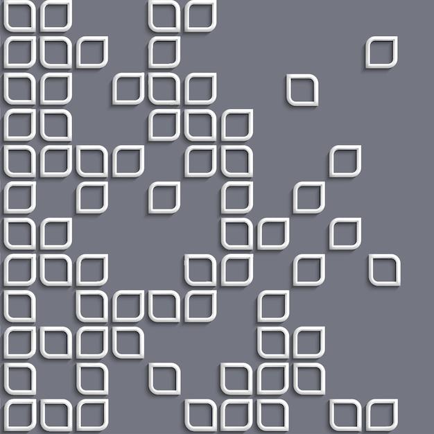 3d geometrische achtergrond met witte gestileerde vormen Premium Vector