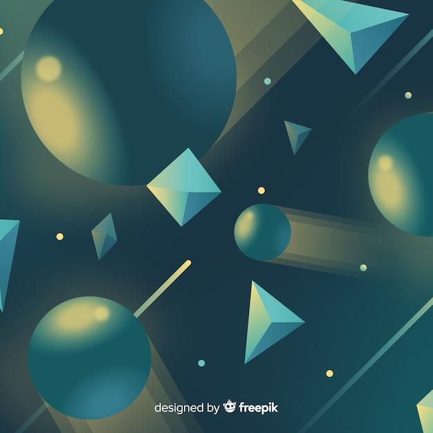 3d-geometrische vormen achtergrond Gratis Vector