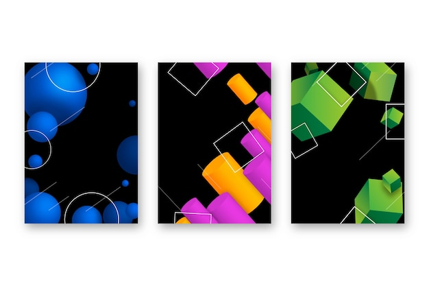 3d geometrische vormendekking op donkere achtergrond Gratis Vector