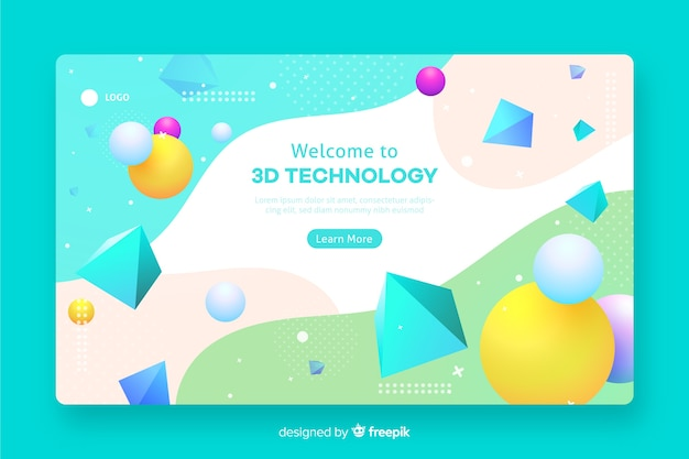 3d geometrische websjabloon Gratis Vector