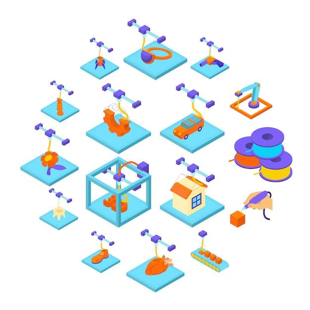 3d geplaatste pictogrammen van de drukknop, isometrische stijl Premium Vector