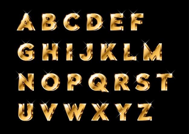 3d glanzende gouden alfabetten set Premium Vector