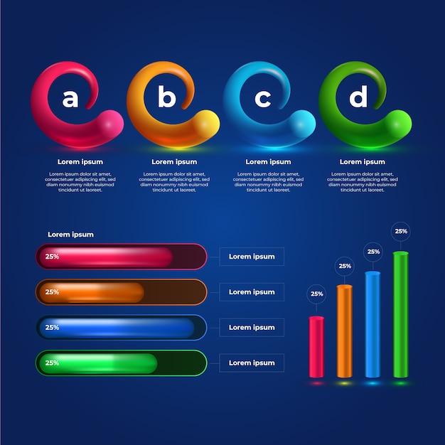 3d-glanzende infographic verzameling sjabloon Gratis Vector