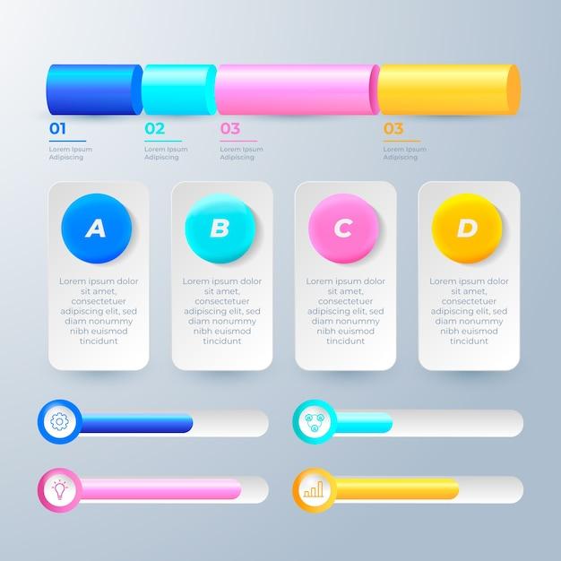 3d-glanzende infographics sjabloon Gratis Vector
