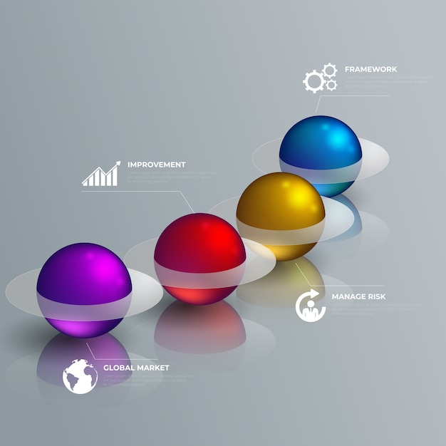 3d-glanzende stijl infographic Gratis Vector