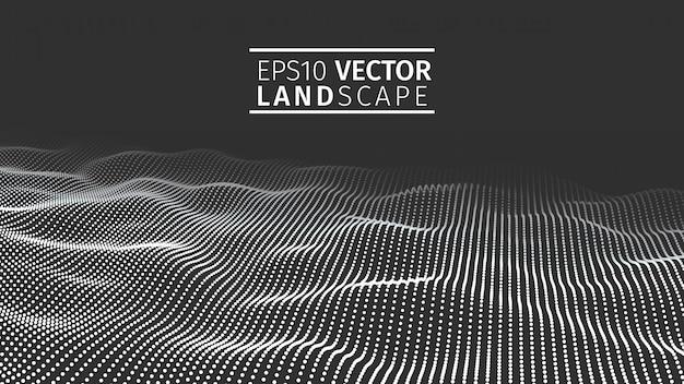 3d gloeiende abstracte digitale golfdeeltjes. Premium Vector