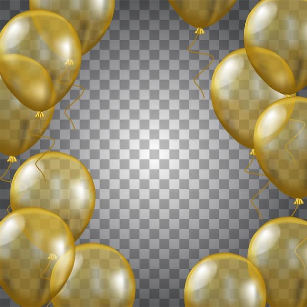 3d gouden ballon transparant Premium Vector
