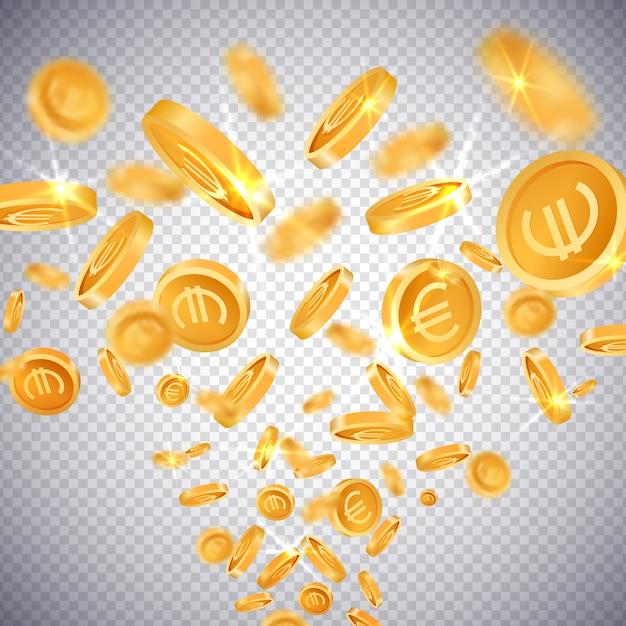3d-gouden munten dollar en euro Premium Vector