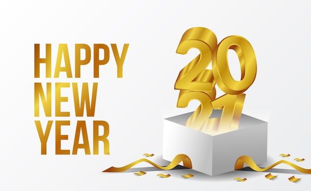 3d gouden tekst gelukkig nieuwjaar 2021 met witte doos en gouden lint wenskaart met witte achtergrond Premium Vector
