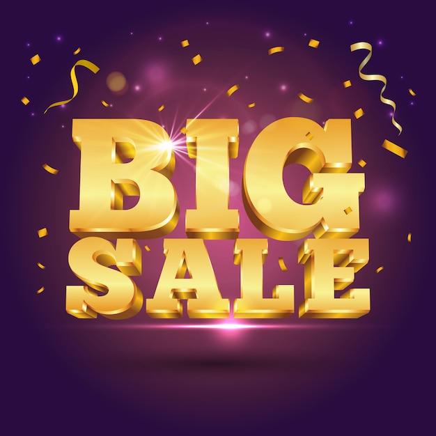 3d-gouden tekst grote verkoop met confetti op paars. illustratie voor promotie korting verkoop reclame Premium Vector