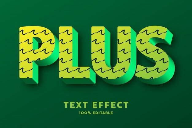 3d groen met gekrabbelpatroon, teksteffect Premium Vector