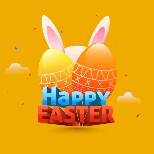 3d happy easter-tekst met glanzende eieren en konijnenoren Premium Vector