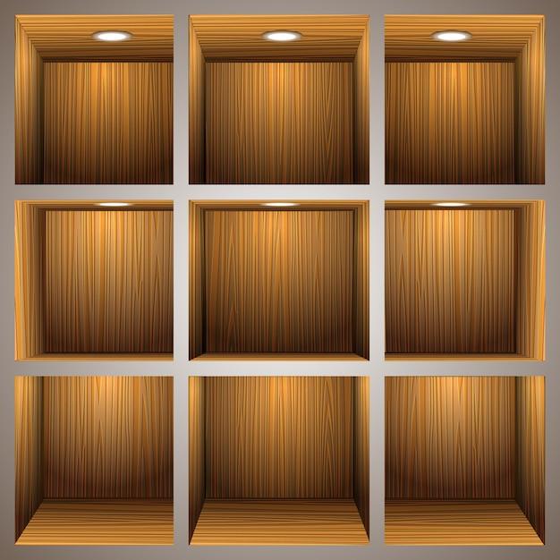 3d-houten planken Premium Vector