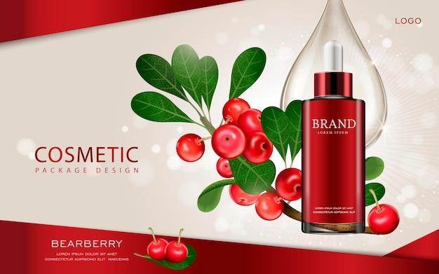 3d illustratie cosmetische mockup met ingrediënten op de achtergrond Premium Vector