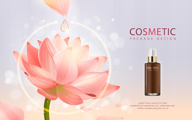 3d illustratie realistische druppelflesje met ingrediënten lotus op de achtergrond Premium Vector
