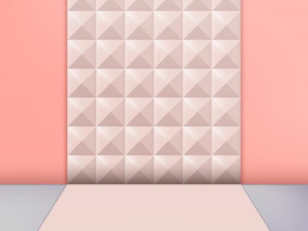 3d illustratie trendy studio shot pastel klinknagel achtergrond, roze. Premium Vector