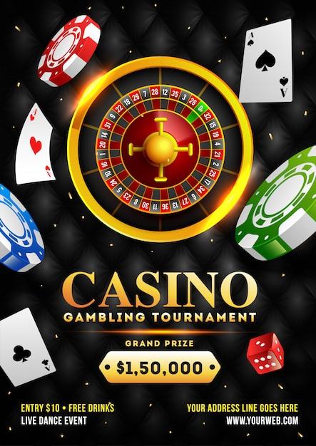 3d illustratie van roulettewiel met casinospaanders Premium Vector