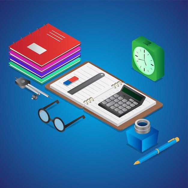 3d illustratie van studie-elementen zoals als open notebook met rekenmachine, inktfles, schoolboeken en wekker Premium Vector