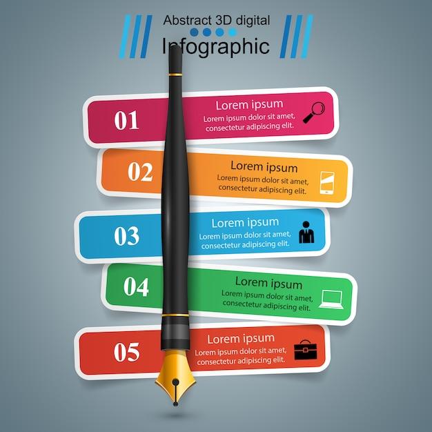3d-infographic ontwerpsjabloon Premium Vector