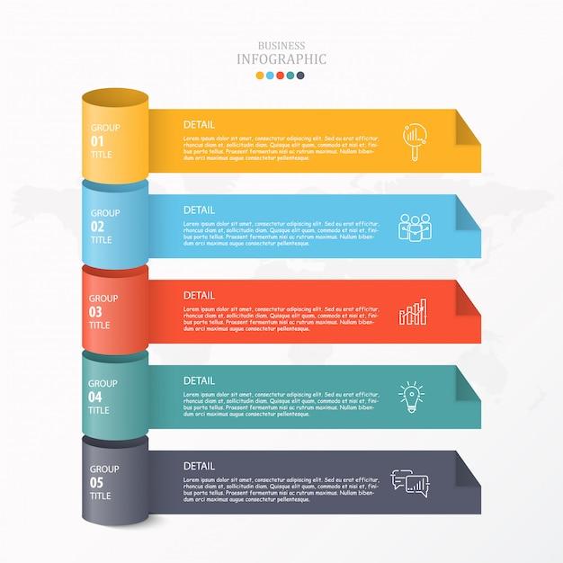 3d-infographic voor zakelijke en procesgrafiek. Premium Vector