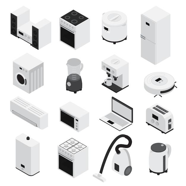 3d isometrics huistoestellen icon set kleine huishoudelijke apparaten en grote witte en geïsoleerde Gratis Vector
