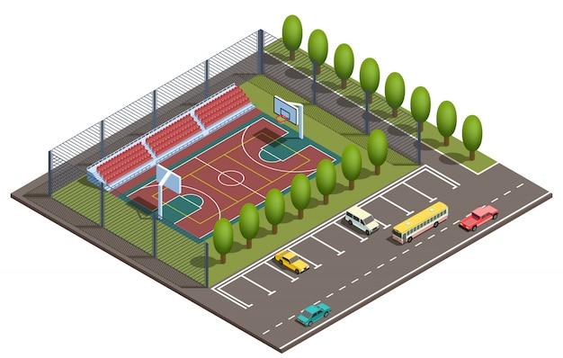 3d isometrisch basketbalgebied, autoparkeren Gratis Vector