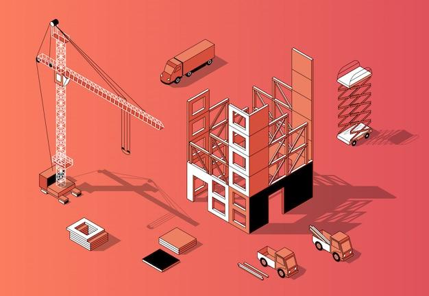 3d isometrisch bouwconcept, de bouwbuitenkant Gratis Vector
