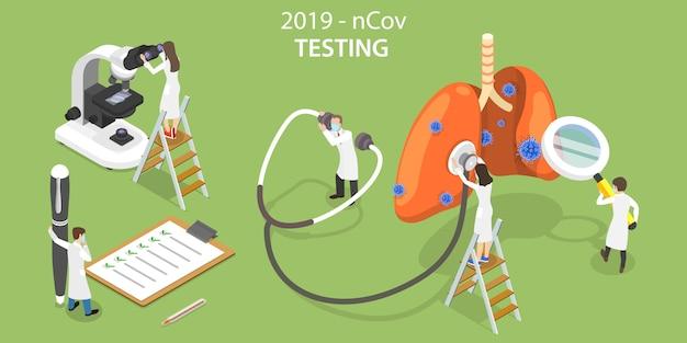 3d isometrisch concept van 2019-ncov virus laboratory testing. Premium Vector