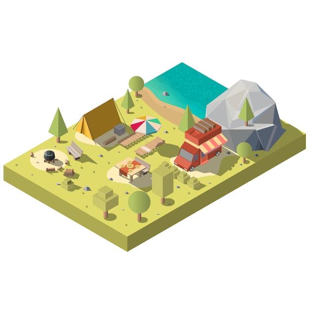 3d isometrisch grondgebied voor kamperen, recreatie Gratis Vector