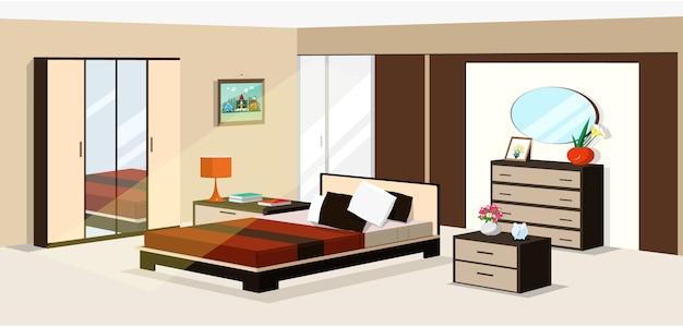 3d isometrisch slaapkamerontwerp. vectorillustratie van moderne isometrische slaapkamermeubilair: Premium Vector