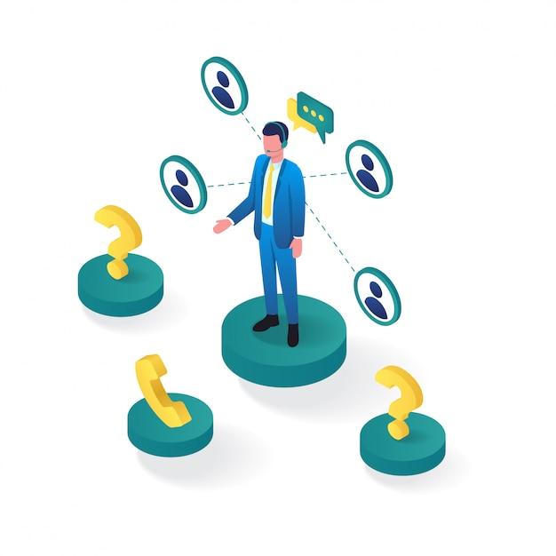 3d isometrisch van online klantenondersteuning Premium Vector