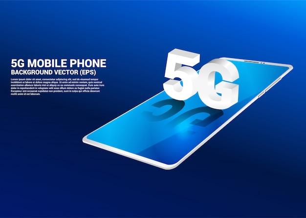 3d isometrische 5g op mobiele telefoon. Premium Vector