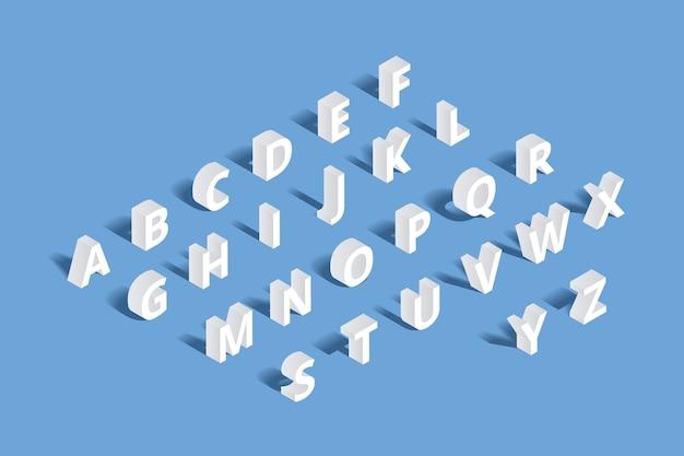 3d isometrische alfabet. ontwerpbrief, typografie abc set, geometrisch typoteken Gratis Vector