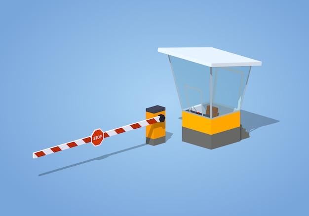 3d isometrische barrière en tolhuisje Premium Vector
