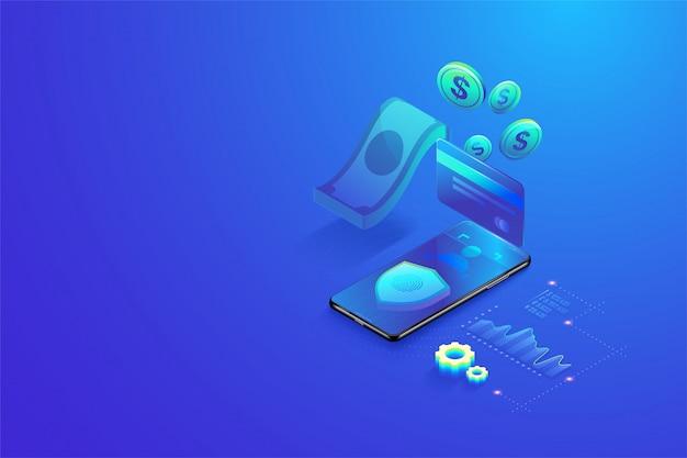 3d isometrische beveiligde online betaling door smartphone concept Premium Vector