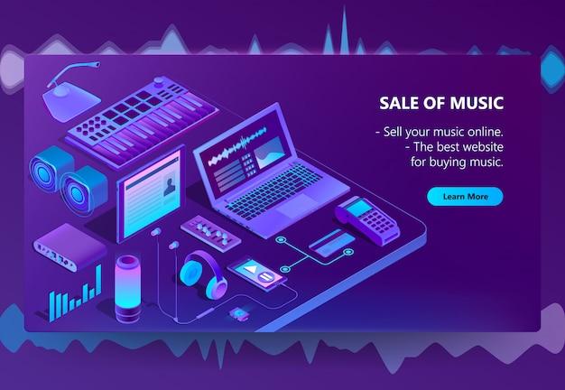 3d isometrische e-commerce site van muziek Gratis Vector